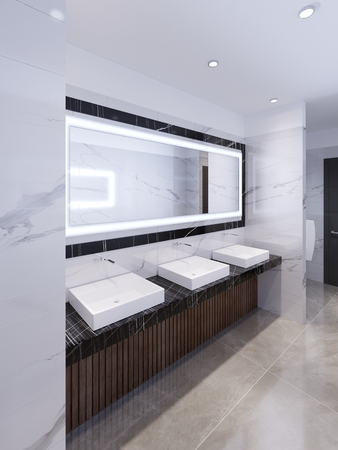 three sinks on the marble black countertop and a large mirror in the frame. Public toilet. 3d rendering