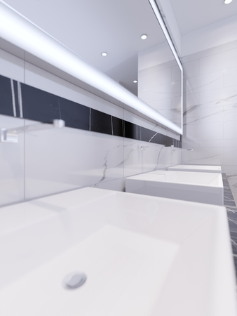 Washbasins with illuminated mirror. 3d rendering