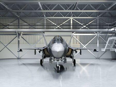 Subtle multifunctional fighter-bomber, fifth generation. Modern fighter in the hangar. 3D rendering.