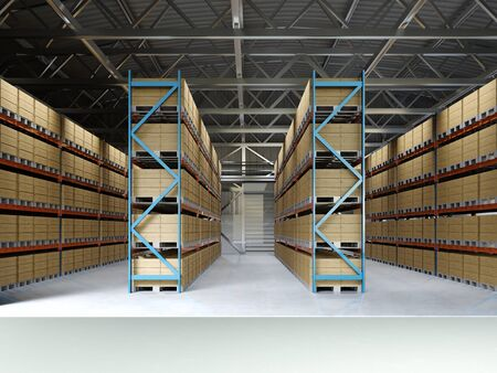 Large storage room with shelving and pallets. 3D rendering. Archivio Fotografico