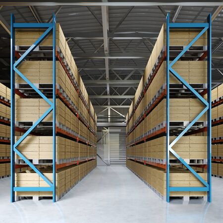 Large storage room with shelving and pallets. 3D rendering.