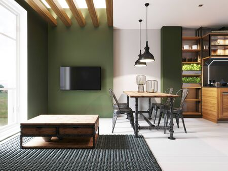Area with a TV in a studio apartment with a loft style kitchen. Wooden designer dining table and modern kitchen. 3D rendering.