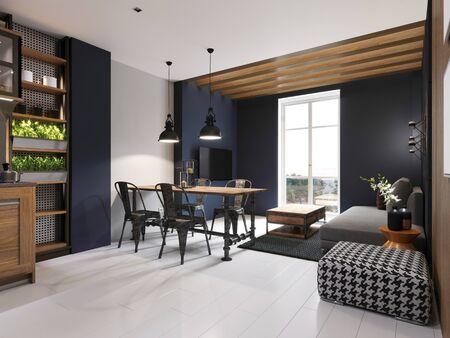 Divano moderno e tavolo da pranzo con sedie in ferro all'interno del sottotetto di un monolocale. Pannello in cemento scuro e assi di legno sulla parete. Rappresentazione 3D.