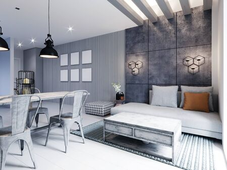 Modern area with a TV in a studio apartment with a loft style kitchen in white color. Designer dining table, modern kitchen and sofa with ottoman. 3D rendering.