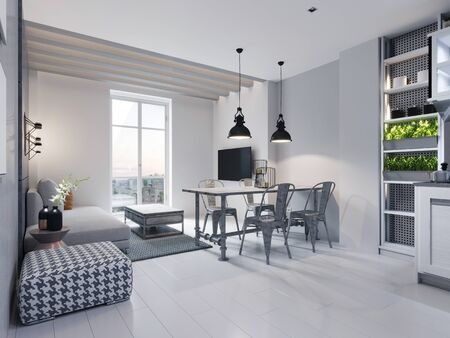 Dining room with dining table and sitting area with sofa in a modern white loft style kitchen. 3D rendering.
