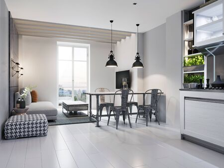 Dining room with dining table and sitting area with sofa in a modern white loft style kitchen. 3D rendering. Reklamní fotografie