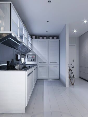 White corner kitchen in contemporary design with modern technological furniture. 3D rendering.