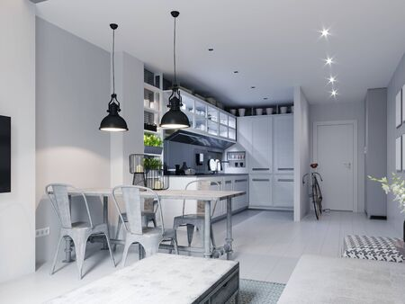 Kitchen with a white dining table in Scandinavian style and loft elements. 3D rendering.