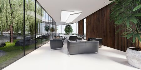 Meeting room with a large white table and black leather armchairs in a green office with plenty of plants. Glass transparent office. 3D rendering.