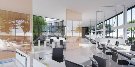 Spacious light and lighted office with work desks and glass partitions between. 3D rendering.