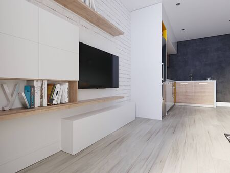A TV unit with a TV and bookshelves. white decorative brick wall. Wood texture and matt white lockers. 3D rendering.