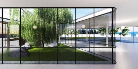 Spacious bright spatial rooms with lots of greenery behind the glass. Public premises for office, gallery, exhibition. 3D rendering. Stock Photo