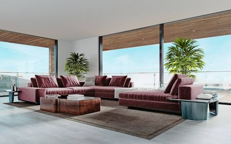 Living room with a large pink sofa and a TV unit with shelves and decor. Living room studio with kitchen and living area. Large panoramic windows. 3D rendering. Standard-Bild