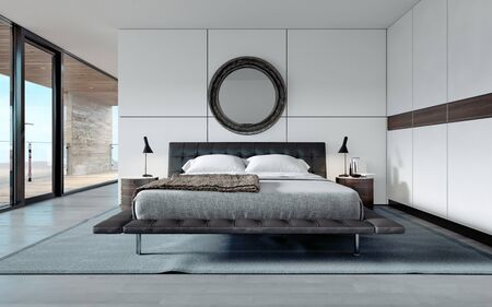 Modern designer bedroom in Scandinavian style, wardrobe, round mirror, panoramic window from floor to ceiling. 3D rendering.