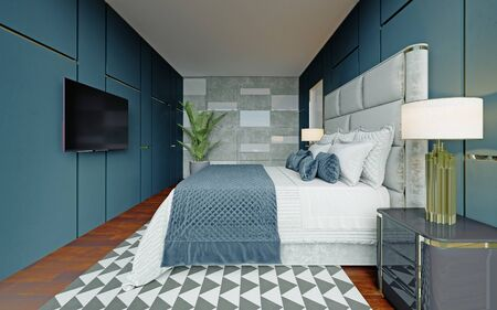 Designer bedroom in blue and white with brown parquet and a large panoramic window with a view. 3D rendering. Foto de archivo