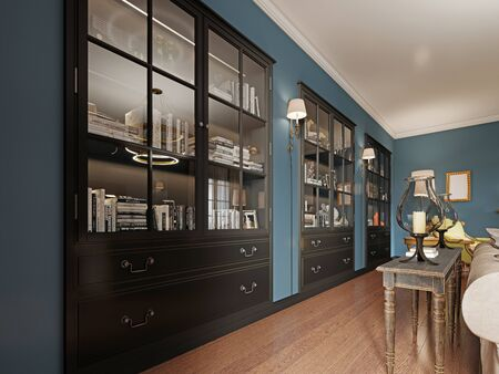 Bookcases built into the wall, with books in the classic living room. Wooden console by the sofa with decor. Black furniture and sconces on the wall. 3D rendering.