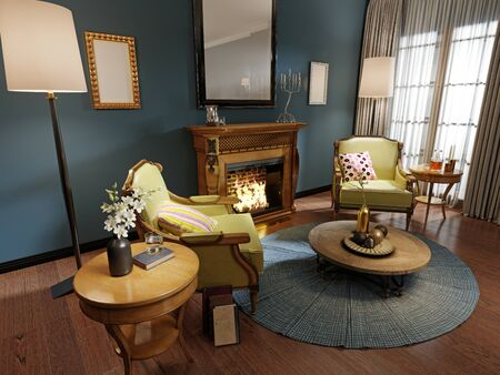 Relaxation area of the classic-style living room with wooden armchairs with light green leather upholstery. Luxurious carved wood fireplace. Deep blue walls. 3D rendering.