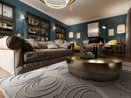 A modern eclectic living room in dark colors, with a soft leather sofa and an armchair. Black bookcase built-in wardrobe. 3D rendering