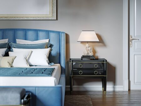 Black lacquered bedside table with table lamp and silver curly stand. The lampshade is square in shape. 3D rendering.