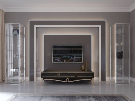 Modern tv unit, tv stand in the living room art deco style. Glass shelves and shelving. 3D rendering.