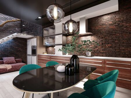 Newly designed kitchen with dining room, loft style, green chairs, brick wall. 3D rendering.