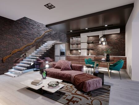 Studio loft design with staircase and dark brick wall. Living room with burgundy upholstered furniture and a modern kitchen. 3D rendering. Foto de archivo