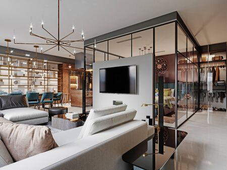 Modern bedroom behind glass in a studio room. Burgundy walls, a luxurious bed, a TV unit, a large corner sofa. 3D rendering.