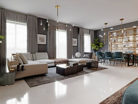 large living room with a large white corner sofa and TV unit, dining area with dining table. Gray walls and large windows. 3D rendering.