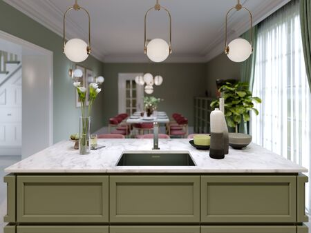 Designer kitchen island pistachio color with decor and lamps over. 3D rendering