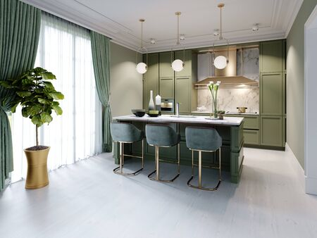 New design pistachio color kitchen with kitchen island. 3D rendering.