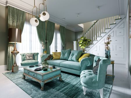 Luxury living room interior in mint colors. Art Deco style. A soft sofa and two armchairs, a coffee table, a TV unit, a console, a floor lamp. 3D rendering.