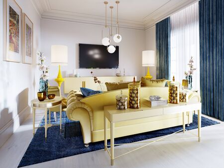 Luxurious fashionable living room with yellow upholstered furniture and blue carpet and decor, Yellow console with decor. 3D rendering