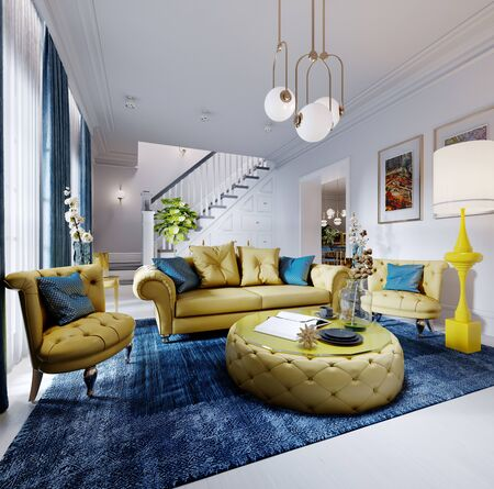 Luxurious fashionable living room with yellow upholstered furniture and blue carpet and decor, white walls. 3D rendering
