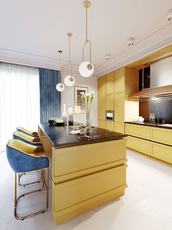 Fashionable and modern kitchen in yellow with a kitchen island and bar stools. Inter in blue and yellow. 3D rendering.  Stock fotó