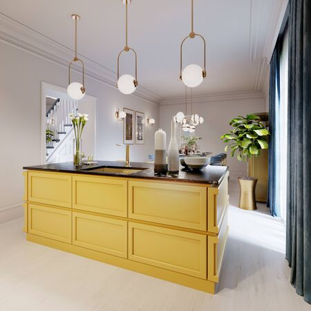 Modern kitchen island in yellow kitchen with pendant lamp over, yellow furniture black countertop. 3D rendering.