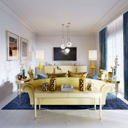 Luxurious fashionable living room with yellow upholstered furniture and blue carpet and decor, white walls. 3D rendering Stock fotó - 150291183