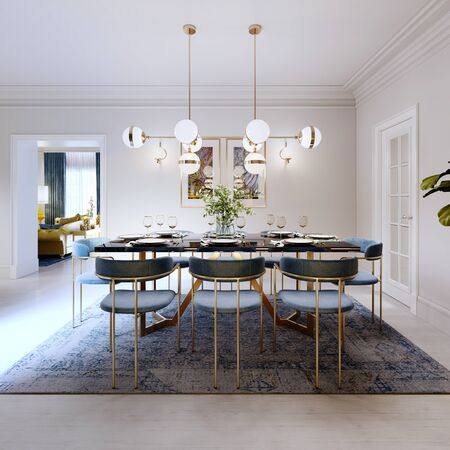 Fashionable designer dining table, black countertop, blue chairs, yellow furniture, dining area with kitchen multi-colored meel. 3D rendering.