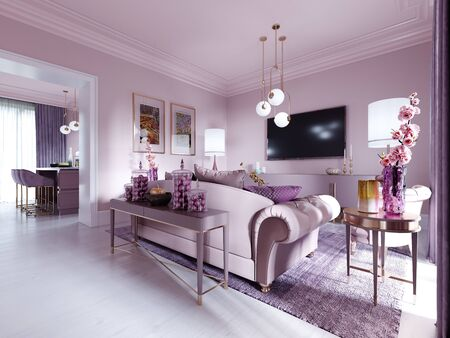 Modern art deco living room in lilac color with fashionable upholstered furniture, tv stand, console, magazine table with decor. 3D rendering. Stock fotó - 150296869