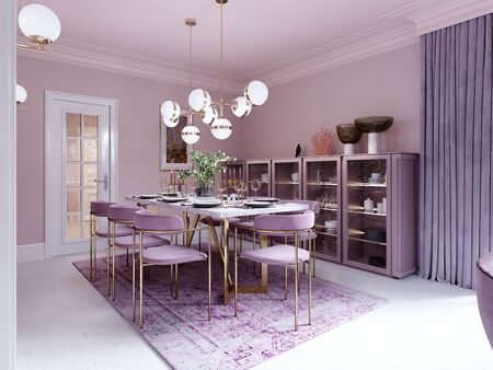 Lilac color dining room in trendy art deco style with modern furniture, served table and chairs. 3D rendering. Banco de Imagens - 150297334
