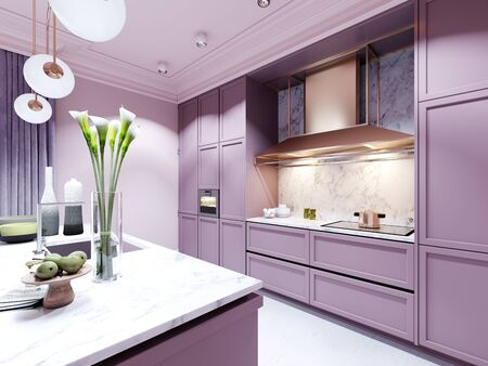 Fashionable kitchen in a trend style lilac color furniture and modern design. 3D rendering. Stock fotó - 150297461