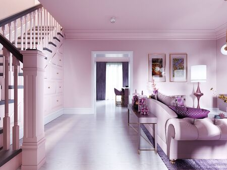 Hall corridor with stairs in the living room, color lilac interior. 3D rendering. Banque d'images