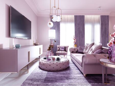 Modern art deco living room in lilac color with fashionable upholstered furniture, tv stand, console, magazine table with decor. 3D rendering.