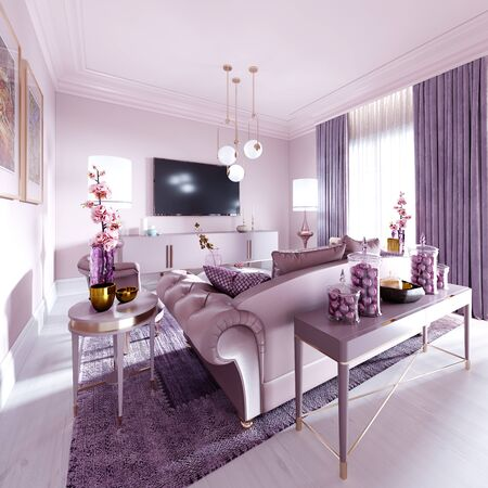 Modern art deco living room in lilac color with fashionable upholstered furniture, tv stand, console, magazine table with decor. 3D rendering. Stock fotó - 150296818