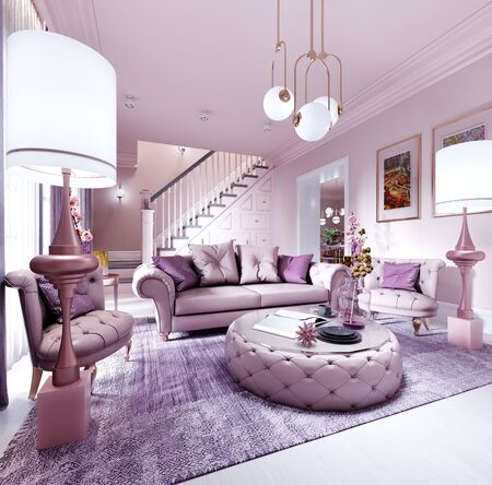 Modern art deco living room in lilac color with fashionable upholstered furniture, tv stand, console, magazine table with decor. 3D rendering. Stock fotó - 150296685
