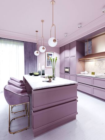 Fashionable kitchen in a trend style lilac color furniture and modern design. 3D rendering. Stock fotó - 150297032