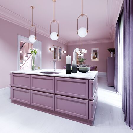 Kitchen island lilac color in trendy country style with light over and decor. 3D rendering. Foto de archivo