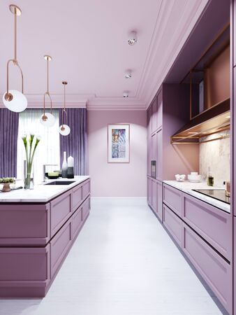 Fashionable kitchen in a trend style lilac color furniture and modern design. 3D rendering.