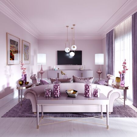Modern art deco living room in lilac color with fashionable upholstered furniture, tv stand, console, magazine table with decor. 3D rendering. Stock fotó - 150296660