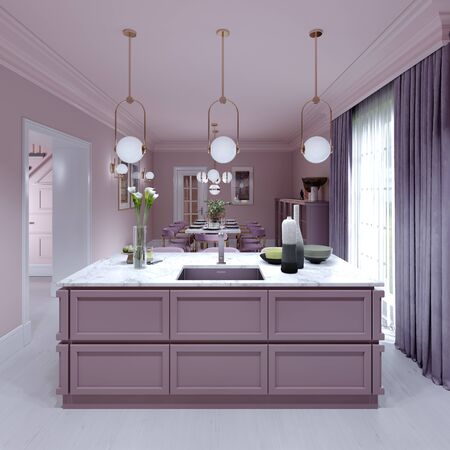 Kitchen island lilac color in trendy country style with light over and decor. 3D rendering. Stock fotó - 150297067