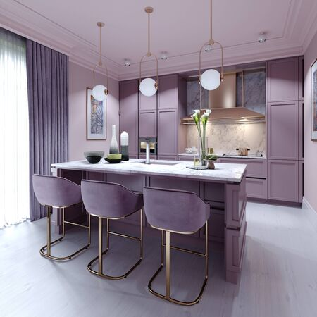 kitchen counter with three chairs in lilac color in a trendy modern interior style. 3D rendering.